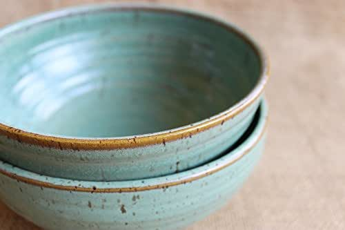 Amazon.com: Rustic speckled stoneware pottery bowls, set