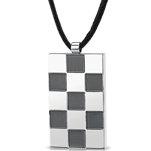 Brush Finish Dog Tag - Stainless Steel Chessboard design, Brush finish and High polish Square Pendant with adjustable Black cord