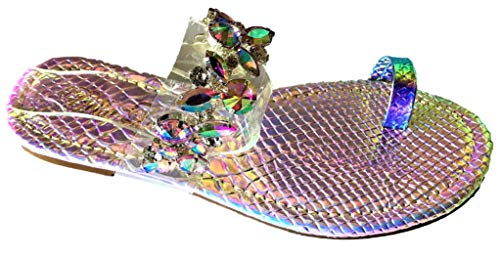 Urban Heel Women's Rhinestone Jeweled Holo Clear Strap Toe Ring Sandal Slides ()