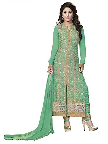 (Pista Green Pure Georgette Embroidered Long Churidar Straight Cut Salwar Suit)