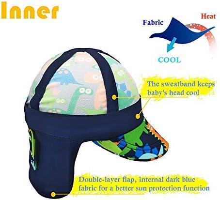 Gifts Treat des Gamins L/égionnaires Chapeau UPF 50 Protection Solaire Bonnet de Bain Chapeau /à Rabat Motif de Dinosaure pour Enfants