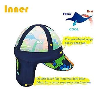 Gifts Treat des Gamins L/égionnaires Chapeau Protection Solaire Bonnet de Bain Chapeau /à Rabat Motif de Dinosaure pour Enfants UPF 50