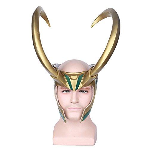 Loki Mask (yacn Halloween Loki Mask& Loki Helmet Cosplay For Adult,Loki Cosplay PVC Mask Half Face Mask -Golden Giant Horns Helmet)