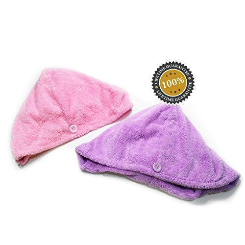 Sill Wrap - Isabella Dora Microfiber Hair Towel – Securing Button, Fast Drying Hair without Blow Drying