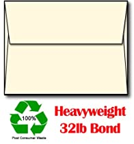 100% Recycled Cream A6 Envelopes (Made from Extra Thick 80lb Stock) - 100 Envelopes