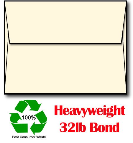 100% Recycled Cream (Off-White) A6 Envelopes (Made from Extra Thick 80lb Stock) - 250 Envelopes