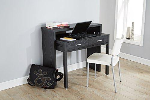 Negro escritorio mesa de consola extensible mesa de almacenamiento ...