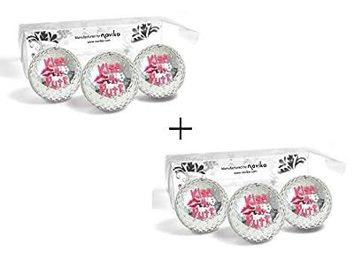 Golf Balls Silver METALLIC with KISS MY PUTT Imprint(2 PACK)