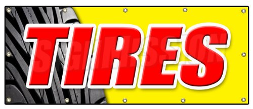 """48""""x120"""" TIRES BANNER SIGN sale name brand rotation wheel..."""