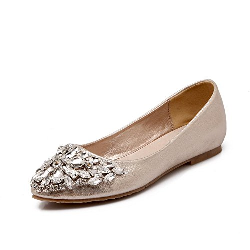 Pumps Ladies Crack Balamasa Gold Leather Imitated Glass Flats shoes Ballet Diamond d7TTwnC8qZ