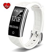 Fitness Tracker, feifuns Fitness Watch Activity Tracker Bluetooth Smart Band with Heart Rate Sleep Monitor Podemeter Calorie Call Reminder, IP67 Waterproof Smart Bracelet Pedometer Wristband, White