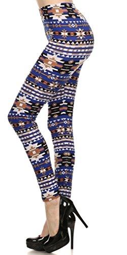 Womens Plus Blue Printed Lined Leggings 41WUdYtYuEL