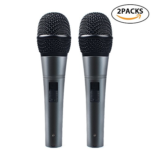 Professional Dynamic Cardioid Vocal Wired Microphone with XLR Cable (19' XLR-to-1/4 cable), MAONO-K04 Metal Cord Mic Plug And Play for Stage, Performance, Karaoke, Public Speaking,Home KTV(2 (Cable Cardioid Dynamic Microphones)