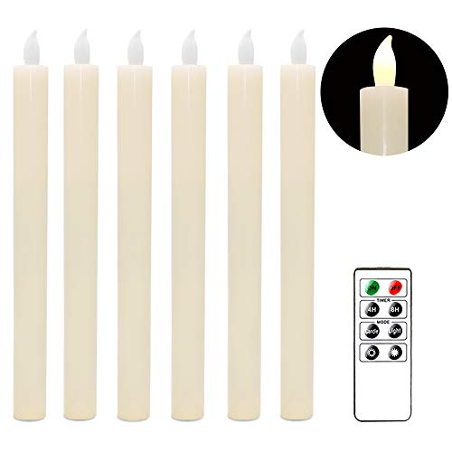 (Eldnacele Set of 6 Flameless Flickering Candles Real Wax Candles LED Window Taper Candles with Timer and Remote Control for Home and Wedding Decoration (Ivory) )