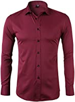 INFLATION Men's Bamboo Fiber Dress Shirts Slim Fit Solid Long Sleeve Casual Button Down Shirts, Elastic Formal Shirts for Men,Red Shirts