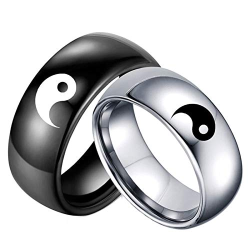 - Beydodo Couples Rings His and Hers Stainless Steel Rings Set Engraved Yin and Yang Pattern Women Size 6 and Men Size 8