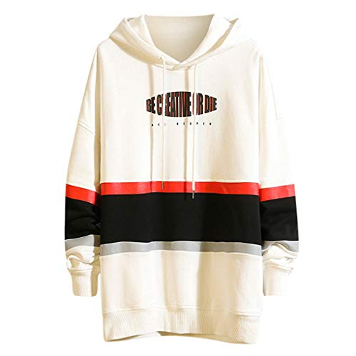 GDJGTA Shirts for Mens Autumn Winter Patchwork Long Sleeved Hooded Sweater Tops Blouse (Ut Sweater Dog)