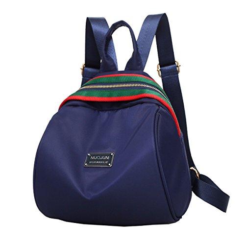 Lilimay Mochila Vintage de Nylon para Las Mujeres Mochila para La Camping Picnic Deporte Mochila de Universidad y Escuela, 21*7*26cm Azul marino