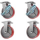 "6"" x 2"" Heavy Duty Caster Set with Red Polyurethane on Steel Wheels, 1,200 lbs Capacity per Caster, 6"" Size (Pack of 4)"