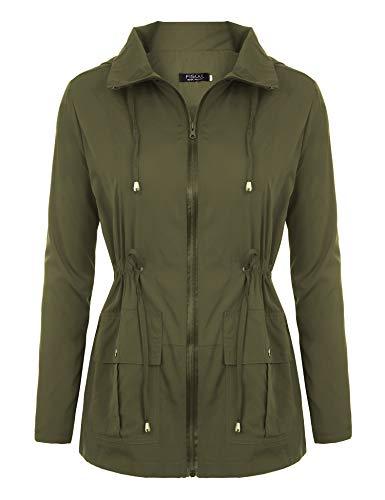 FISOUL Women Rain Jackets Waterproof with Hood Lightweight Raincoat with Pockets Outdoor Windbreaker AG S ()