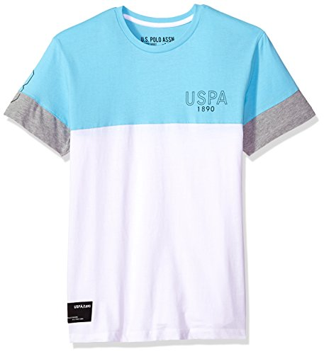 U.S. Polo Assn. Men's Short Sleeve Crew Neck Print T-Shirt, Color Block Horizon Blue FKLG, - Block Horizon