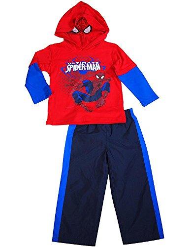 Spiderman - Little Boys' Long Sleeve Spiderman Pant Set, Red, Blue 36501-4T