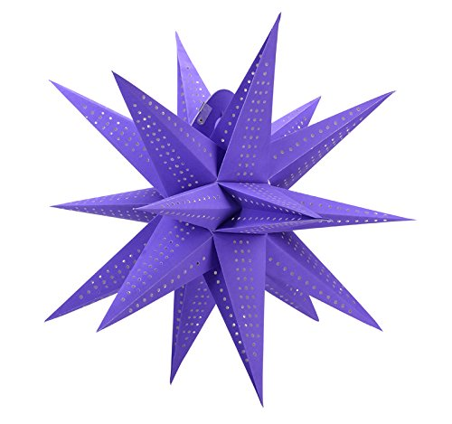 Quasimoon Geometrical 24  Multi Point Star Lantern  Hanging Decoration   Purple  Light Not Included  By Paperlanternstore