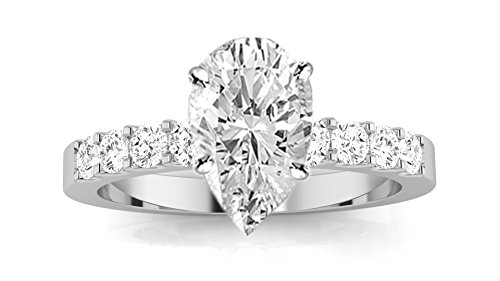 1 Carat Classic Prong Set Diamond Engagement Ring (D Color, VS2 Clarity Center Stones) Pear Shape