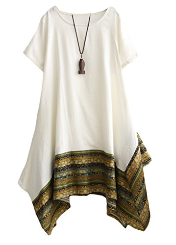 (Minibee Women's Ethnic Cotton Linen Short Sleeves Irregular Tunic Dress (L, White))