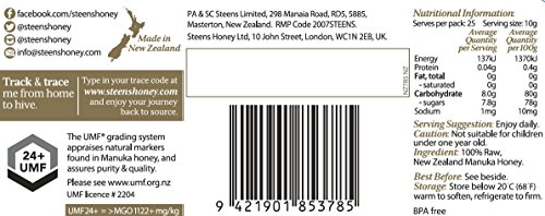 Steens Manuka Honey UMF 24 (MGO 1122) 17.6 Ounce jar   Pure Raw Unpasteurized Honey From New Zealand NZ   Traceability Code on Each Label by Steens (Image #5)