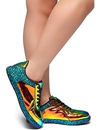 Women's City Glitzy Glitter Meatllic Fashion Sneaker with...