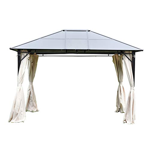 Uenjoy 12' x 10' Aluminium&Steel Permanent Gazebo with Hardtop and Polyester Cloth Curtains