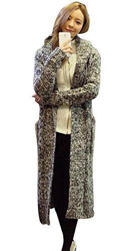 (イェングレン)Yingren ロング丈フード付きグレーニット調カーディガン 羽織モノ ロング丈 グラデーション グレー ブラック レディース トップス 秋冬 アウター ノーカラー ロング丈 ニット