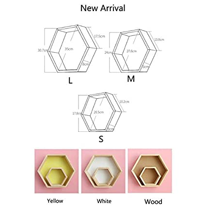 SODIAL 3Pcs//Set Nordic Style Kids Room Decoration Shelf Honeycomb Hexagon Shelves for Baby Bedroom Decoration-Yellow