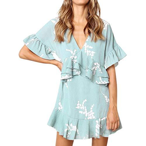 (Tantisy ♣↭♣ Women's V Neck Short Sleeve Mini Dress Casual Ruffle Loose Tunic Shirt Dress Blue)