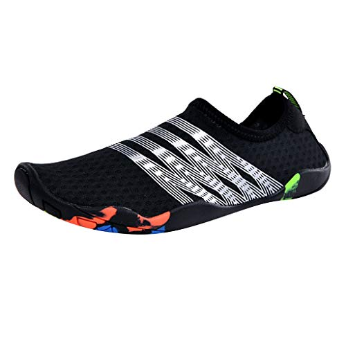 Men's Aqua Socks Shoes Unisex Quick-Dry Water Shoes Barefoot Classic Refined Swim Shoes Size US:6.5-10.5 (43, Black) by Sengei (Image #1)