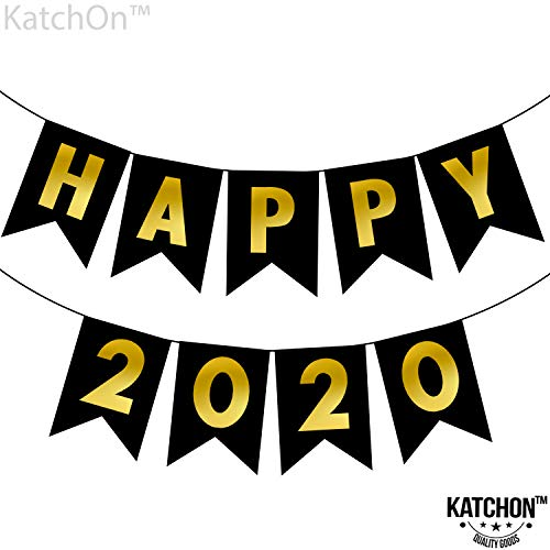 KatchOn Happy 2020 New Year's Party Decorations - No DIY Required | Shiny Gold Foil Letter Print Paper Pennant Sign | Sturdy, New Years Eve Bunting Banner Garland Decor | Nye Decorations | Large