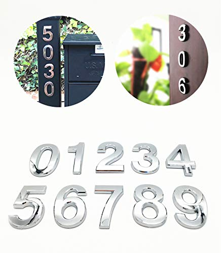 (10 Pcs House Door Numbers 0-9 Address Stickers for Apartment Mailbox Room Self Stick Shining Silver 2 3/4 inches High)