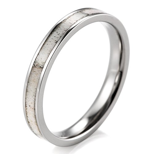 SHARDON Women's 3mm Titanium Ring with Real Deer Antler Inlay Size 6.5 (Deer Ring For Women)
