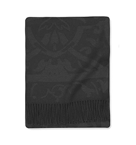SFERRA Amaro Black Throw Blanket Wool Silk Blend Jacquard Damask Fringed