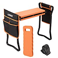 LANNIU Garden Kneeler and Seat Foldable Bench Stool with Kneeling Pad & 2 Ex-Large Tool Pouches Upgraded Portable Kneeler for Gardening, Idea Gifts for Women/Parents/Grandparents