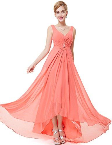 Ever Pretty 09983 Chiffon Abendkleider Lange Korallen Damen Ausschnitt V q4xwf1nRq7