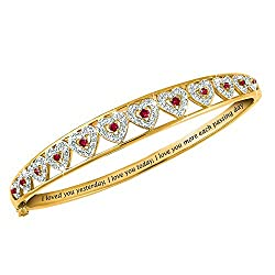 I Love You Ruby & Diamond Bangle