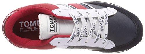 Rwb Retro da Sneaker Denim Ginnastica Hilfiger Scarpe Casual Donna Basse 020 Bianco WxnUXXv6q