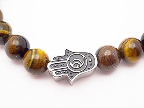 Eye of the Tiger Brown Bead Bracelet with Hamsa by Fine Jewelry 4 Me (Image #7)
