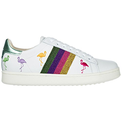 Master of Femme Cuir Sneakers Chaussures Arts en Baskets Blanc Flamingo MOA wZgxqw