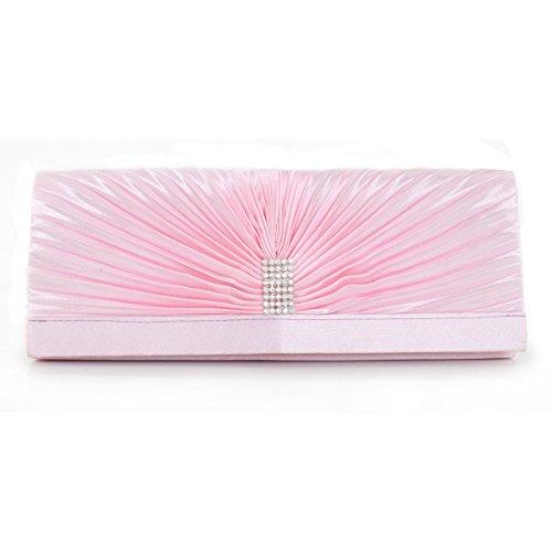 Para Mujer Del Embrague Del Bolso De Embrague Del Monedero De Boda Nupcial Del Partido Del Bolso De Fiesta Salvaje Pink