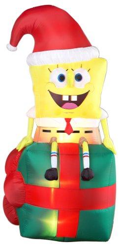 gemmy 1708700 airblown inflatable spongebob sitting on present