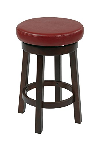 Metro Counter Stools (Office Star Metro Faux Leather Round Counter-Height Barstool with Footrest and Espresso Finished Legs, 24-Inch, Crimson Red)