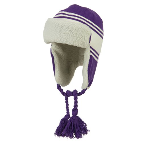Contrast Jacquard Striped Knit Ski Hat - Purple White OSFM